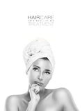 Haircare and Beauty Concept. Spa Woman with a pensive expression Royalty Free Stock Photography