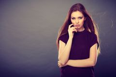 Attractive brunette woman with windblown hair Stock Photography