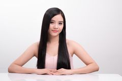 Haircare concept. Beautiful asian woman beauty girl with perfect. Makeup and hairstyle Royalty Free Stock Images
