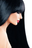 Haircare Concept. Beautiful Brunette Woman with Black Hair. And Makeup Stock Photo