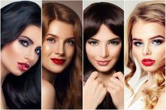 Haircare et coloration de cheveux Femme quatre avec la brune, blond, le brun et les cheveux de gingembre photographie stock libre de droits