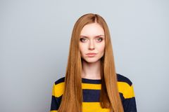 Haircare hairstyle hairdo haircut facial concept. Close up portr. Ait of beautiful charming proud cunning stunning confident stylish manager with long healthy Stock Photos