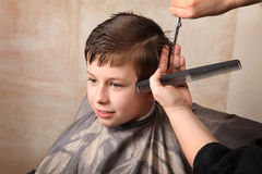 Haircut. Cute young boy getting a haircut Royalty Free Stock Photo
