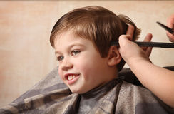 Haircut. Cute young boy getting a haircut royalty free stock image