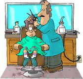Haircut. This illustration that I created depicts a boy in a barbers chair getting a haircut Royalty Free Stock Photography