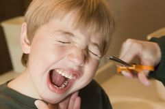 The Haircut. A young boy fears the scissors Royalty Free Stock Image