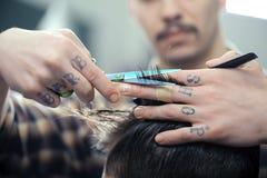 Haircut at barber shop Stock Image