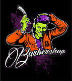 Haircut, barber shop comic book style logo, man with the razor, fifties retro style, rockabilly style.