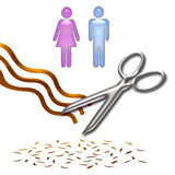 Haircut clip art. Haircut poster scissors and hair on white background Royalty Free Stock Image