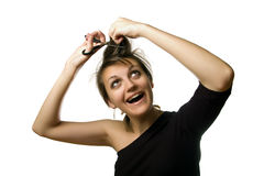 Haircut by herself royalty free stock images
