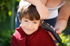 Haircut for little boy Stock Photo