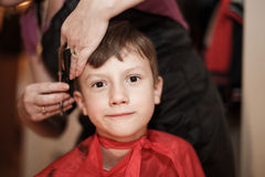 Haircut for little boy Royalty Free Stock Images