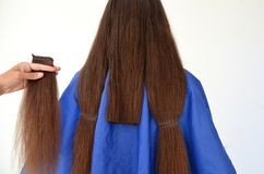 Haircut on really long hair royalty free stock photos