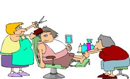 Haircut And A Pedicure. This illustration depicts a woman getting her hair styled and a pedicure Royalty Free Stock Image