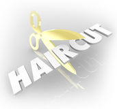Haircut Word Gold Scissors Cutting Hair Salon Style Stock Photography