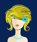 A Haircut of Young Lady vector illustration