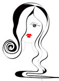 A Haircut of Young Lady. A stylized head of young lady royalty free illustration