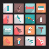 Haircutting tool Flat icons  Beauty salon. Icon set. Hairdresser styling accessories Stock Photos