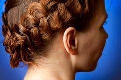 Hairdo con le intrecciature Fotografia Stock