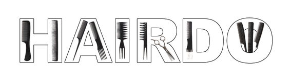 Hairdo concept. Combs used to write HAIRDO vector illustration