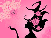 Hairdo Floral Represents Young Woman And Girl Royalty Free Stock Images
