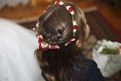 Hairdo. Garland of flowers clipped in hair Royalty Free Stock Photos