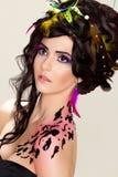 Hairdo luxuoso futurista, composição e tatuagem fotografia de stock royalty free