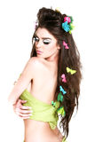 Hairdo and make up. Beautiful girl in spring makeup and hairdo royalty free stock image