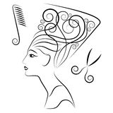 Hairdress black-white Royalty Free Stock Images