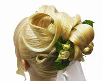 Hairdress bride. With real flowers royalty free stock images