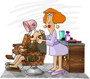 Hairdresser. This illustration that I created depicts a woman hairdresser working on a client royalty free illustration