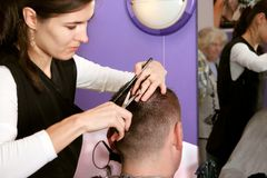 Hairdresser. Cutting hair Royalty Free Stock Photos