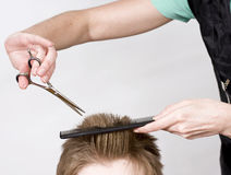 Hairdresser. Cuts client with scissors stock images