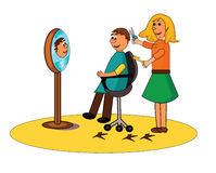 Hairdresser. A smiling hairdresser cuts a man's hair stock illustration
