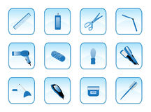 Hairdresser accessories. Buttons of hairdresser accessories, blue Royalty Free Stock Photos