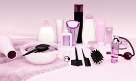 Hairdresser Accessories for coloring hair on a table. Royalty Free Stock Photography