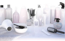 Hairdresser Accessories for coloring hair on a  table. Stock Image