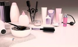 Hairdresser Accessories for coloring hair on a white table. Diagonal Royalty Free Stock Image