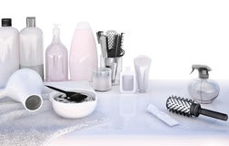 Hairdresser Accessories for coloring hair on a white table. Royalty Free Stock Image