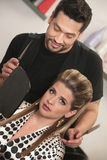 Hairdresser With Annoyed Customer Stock Photos