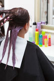 Hairdresser applying color female customer at salon, doing hair dye Stock Image