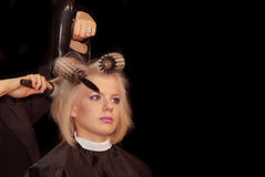 Hairdresser(barber) with model Royalty Free Stock Photography