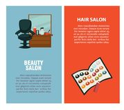 Hairdresser beauty hair salon vector poster for dye coloring and haircut styling. Hairdresser beauty salon information flat design template for hair coloring and Royalty Free Stock Photo