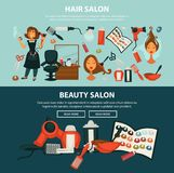 Hairdresser beauty salon vector flat web banners of woman hair coloring styling equipment. Woman hairdresser beauty salon web banners flat design template for Stock Photos