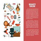 Hairdresser beauty salon vector hair coloring or haricut styling flat information poster. Hairdresser beauty salon information flat design template for hair Stock Photography