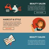 Hairdresser beauty salon vector haricut style flat web banners for hair coloring styling. Hairdresser beauty salon web banners flat design template for hair Royalty Free Stock Photos