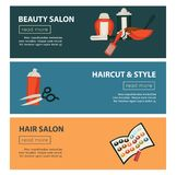 Hairdresser beauty salon web banners flat design template for hair coloring and perm styling. Vector professional coiffeur hair dye, scissors or hairbrush comb vector illustration