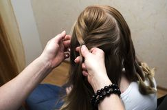 Hairdresser braiding clients hair. Professional hairdresser braiding clients hair Stock Images