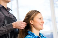 Hairdresser and client Royalty Free Stock Photography