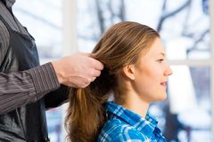 Hairdresser and client Stock Photo